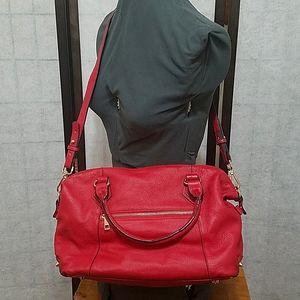 Ora Delphine red Pebble leather satchel